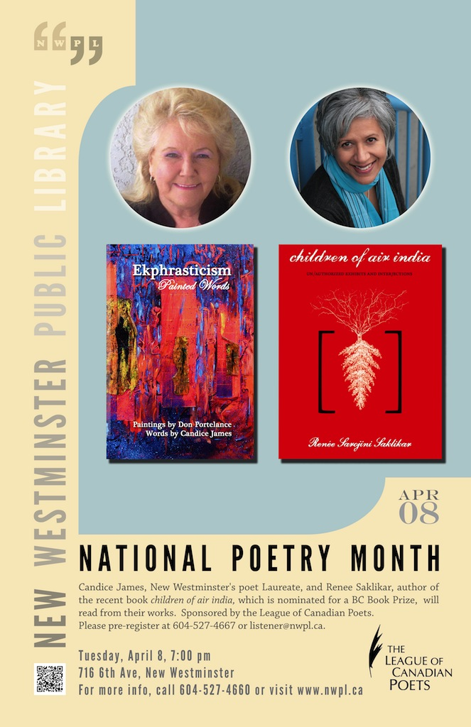 National poetry month with Candice James and Renee Saklikar
