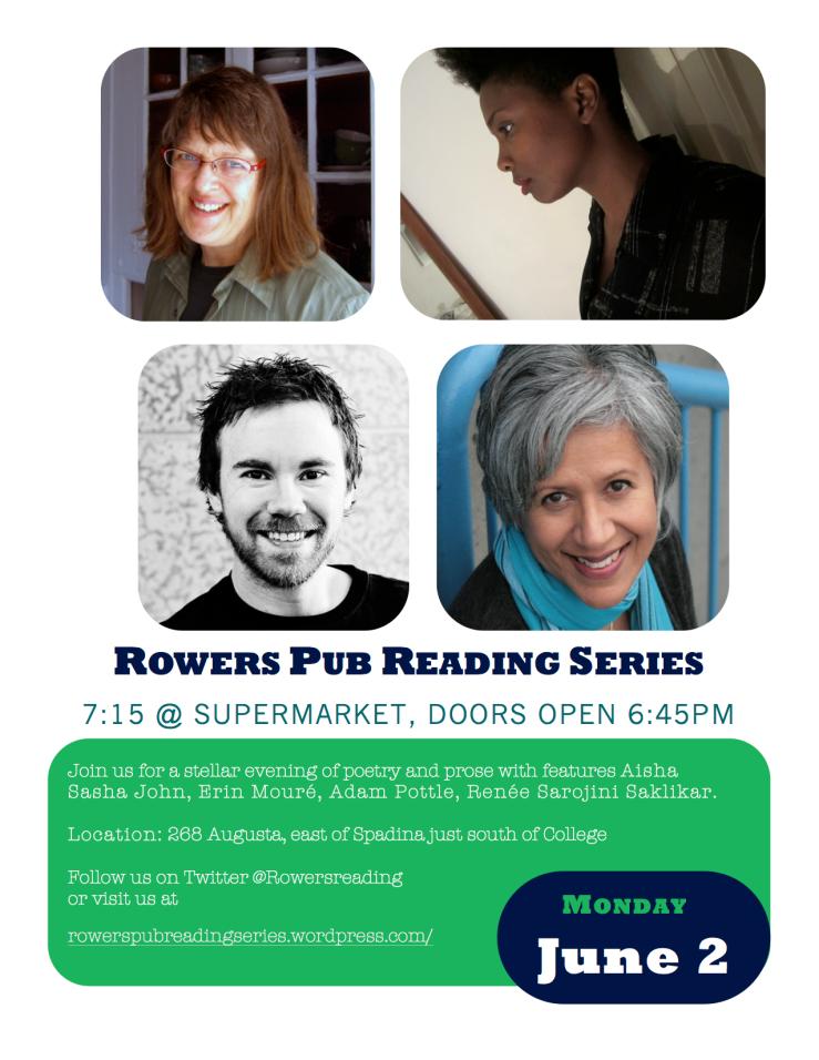 June 2 Rowers Pub Saklikar Toronto Reading