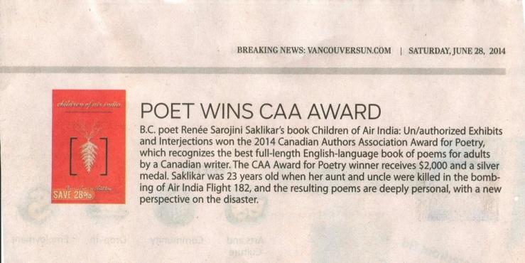 Can Authors Association Poetry Award - 2014  Sakilkar