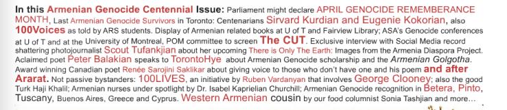 TorontoHye After Ararat Remembrance of Armenian Genocide