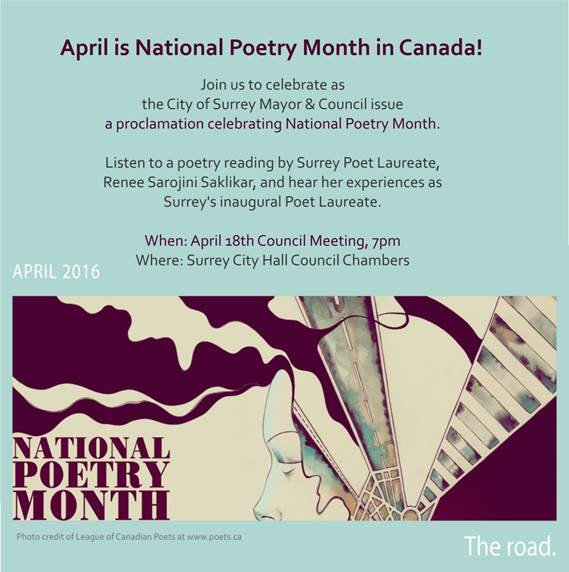 Surrey City Hall Celebrates National Poetry Month