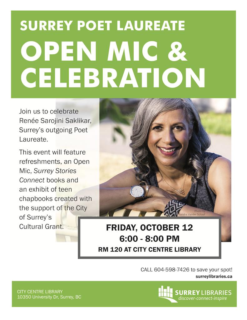 Surrey Poet Laureate Open Mic & Celebration Oct 12 2018