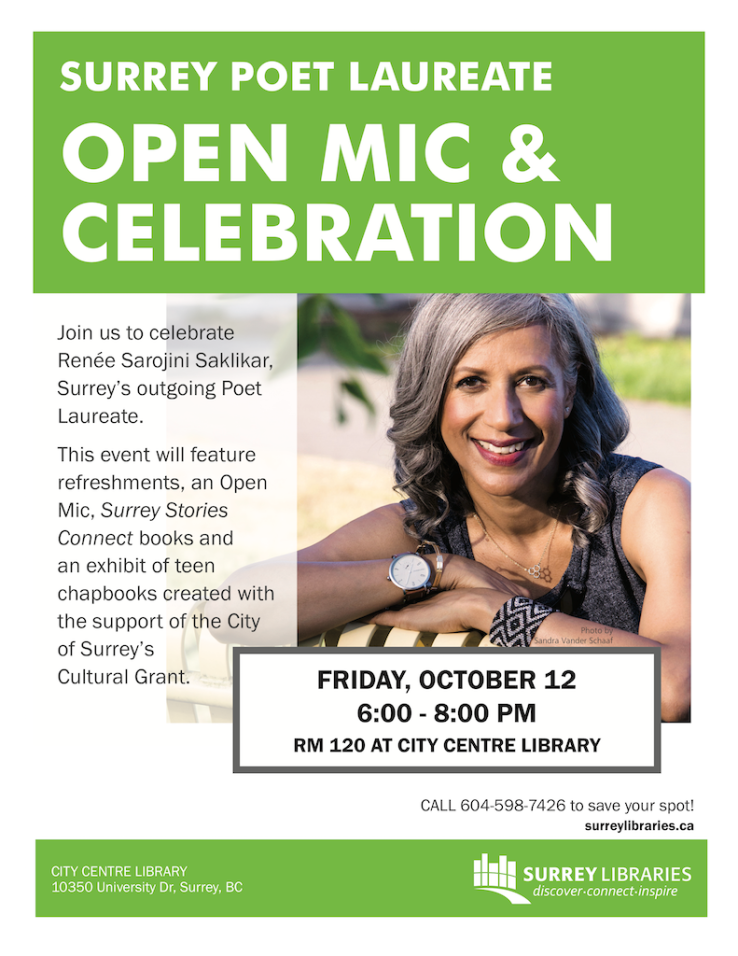Surrey Poet Laureate Open Mic & Celebration Oct 12 2018